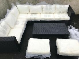 Rattan Yakoe Papaver Outdoor Corner Sofa Set - Black and White - Chunky - Delivery Available