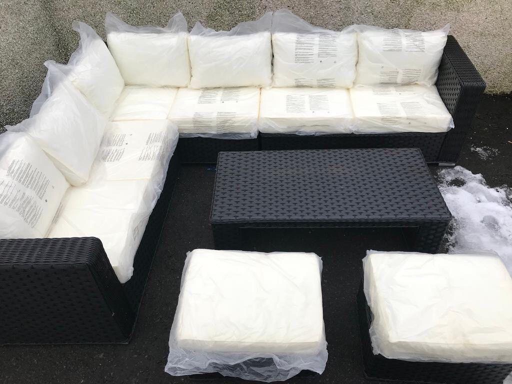 Rattan Yakoe Papaver Outdoor Corner Sofa Set Black And White
