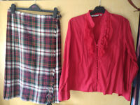 Ladies kilt (size 14) with red shirt and Scotland motif socks , £10.00