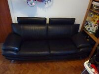 Black Real leather 3 seater sofa & Large-Solid-Ottoman