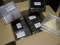 100 Assorted CD Cases good condition - slim CD cases, single CD cases and double CD cases available