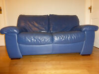 Blue leather two seater sofa