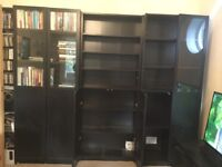 IKEA black ash Billy Display Cabinets / Bookcases