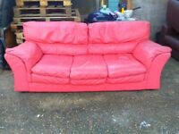 DFS Pink Leather Three Seater Sofa - Free Delivery In Southampton Area