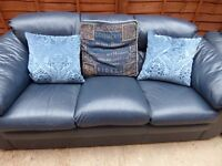 Navy blue leather 3 seater sofa, manual reclining armchair + storage footstool