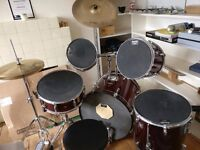 FULL Ruby Red Pearl drum kit with silencers, full stick bag & throne FREE. COLLECTION ONLY. £350 ono