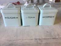 Lovely, Pale blue tea, coffee and sugar storage jars, vintage style, tin