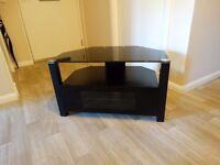 Black Glass Topped Tv Unit Suitable for TV, Sky, DVD, & Storage of DVD's etc Cost over £200