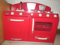 Red retro kitchen stove & oven