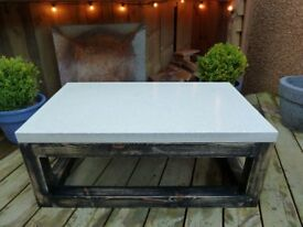 Contemporary white polished concrete coffee table