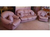 3 PIECE PINK LEATHER SUITE. 3 Seater Sofa, 1 single armchair and 1 single recliner armchair