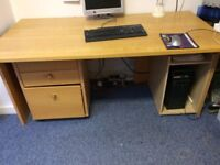 Huge office desk, set of drawers/filing system and PC stand