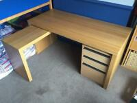 Office desk with slide out side table and filing cabinet