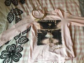 Girls Next Pink T-Shirt Long sleeve Age 9 + Matching headband