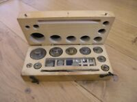 Vintage Set Of Apothecaries / Scientific Weights In Wood Box Weymouth Free local delivery