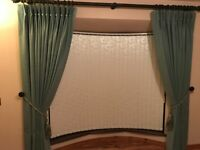 Full size 2 x double width Curtains in teal colour excellent condition