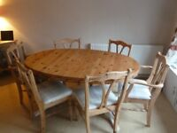 Solid Wood Extendable Dining Table and Six Chairs