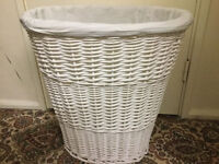 Hardly used white wicker laundry basket in very good condition