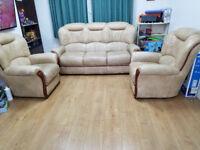 ROSINI TANIA Traditional Italian Leather Sofa 3+1+1 seater - Beige