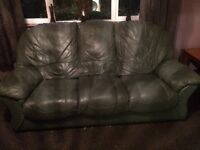 3 seater 2 seater recliner chair and puff in genuine green leather