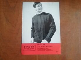 Singer knitting pattern Men's Rib and cable sweater