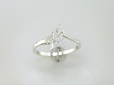 Round Textured Tri Deco Solitaire Ring Setting Sterling Silver