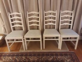 Four Vintage Ercol dining chairs - very pretty painted cream with fabric seats NOW REDUCED
