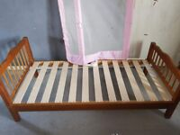 Pine toddler bed and baby guard
