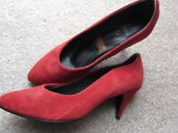 Red Suede Size 5 BHS Shoes