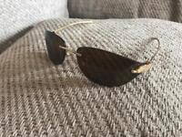 Cartier Gold Panthere de Cartier rimless shield sunglasses (genuine)