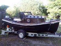 16ft day boat fishing boat with trailer and 15hp outboard engine