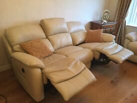 Electric reclining leather sofa and two armchairs - just months old , barely used - shop condition!