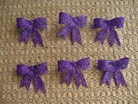 6 Plastic Purple Glitter Bows Christmas Tree Decorations Crafts Flower Arrangements