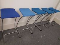 Bristol: 5 turquoise cloth upholstered stools with footrests