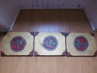Set of Three Stunning Gold Paintings from a Beijing Antiques Market - 16 inches x 12 inches