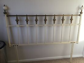 Antique style cream and gold kingsize bed headboard Used but 10/10 condition
