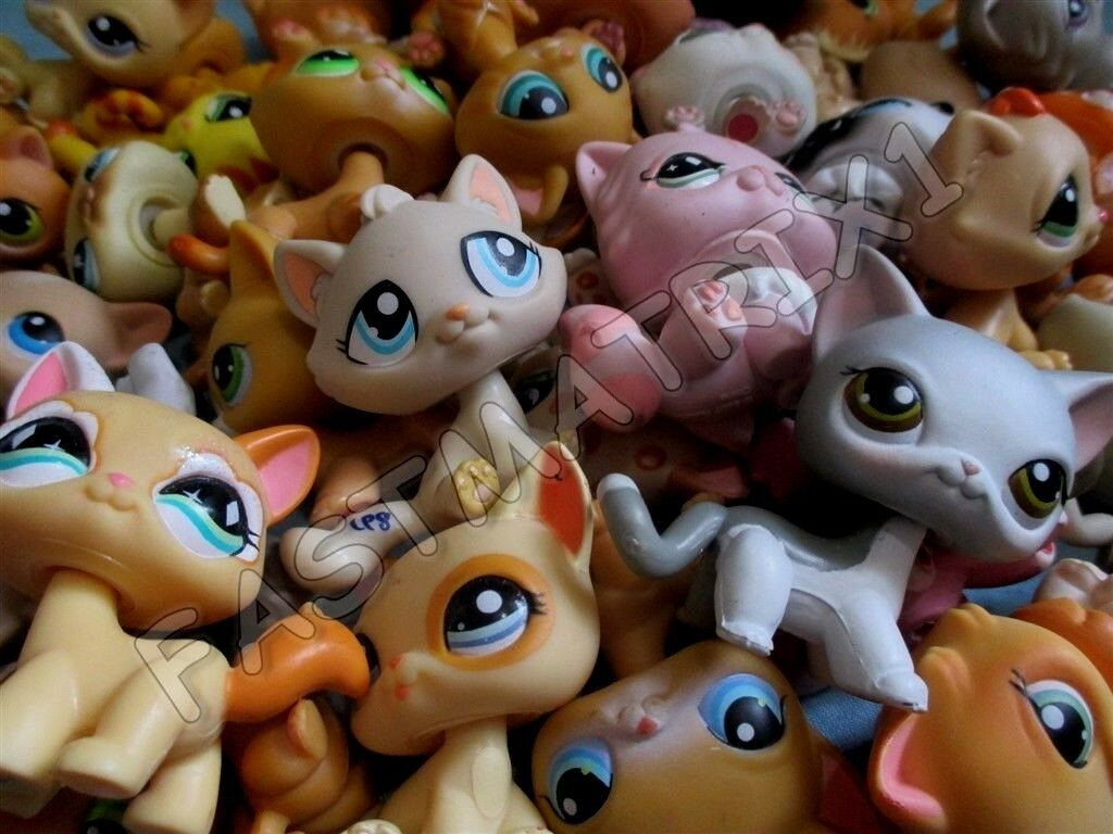 Купить Littlest Pet Shop Lot 2 Random Different Blemished Tabby Persian Kitty Cats Lps