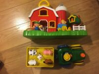 Toy farm, tractor and Noah's ark