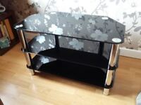 TV stand - black glass with chrome legs