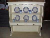 Shabby Chic Solid Pine Farmhouse Country Wall Display Unit In Farrow & Ball Cream No 67