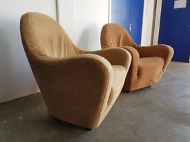 2 DESIGNER FABRIC / SUEDE ARMCHAIRS LOUNGE CHAIR SET DELIVERY AVAILABLE