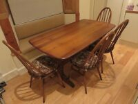 Ercol 'Plank' Dining Table and 4 Matching 'Windsor Quaker' Chairs - Exceptional Condition