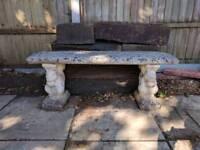 Garden bench - Squirrel detail - stone/concrete