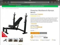 Powertec weight bench + Olympic Bar and Weights,, COLLECT TODAY !! PRICE IS NEGOTIABLE