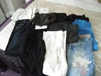 Ladies assortment of trousers and jeans 12 pairs some 3/4 length size 12 and 14