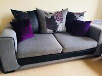 SCS Grey And Purple 3 seat sofa with matching footstool