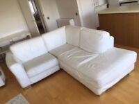 White Italian Real Leather Sofa