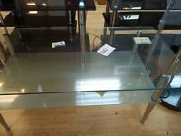 Ex-Display Clear Glass large size coffee table with 1 frosted glass sh