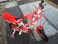"Girls 12"" Minnie Mouse bike"