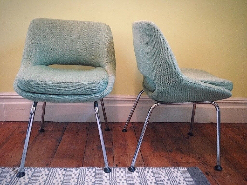4 x Mint Green Retro Vintage Dining Chairs Pieff/ Eero Saarinen Style with Chrome Legs